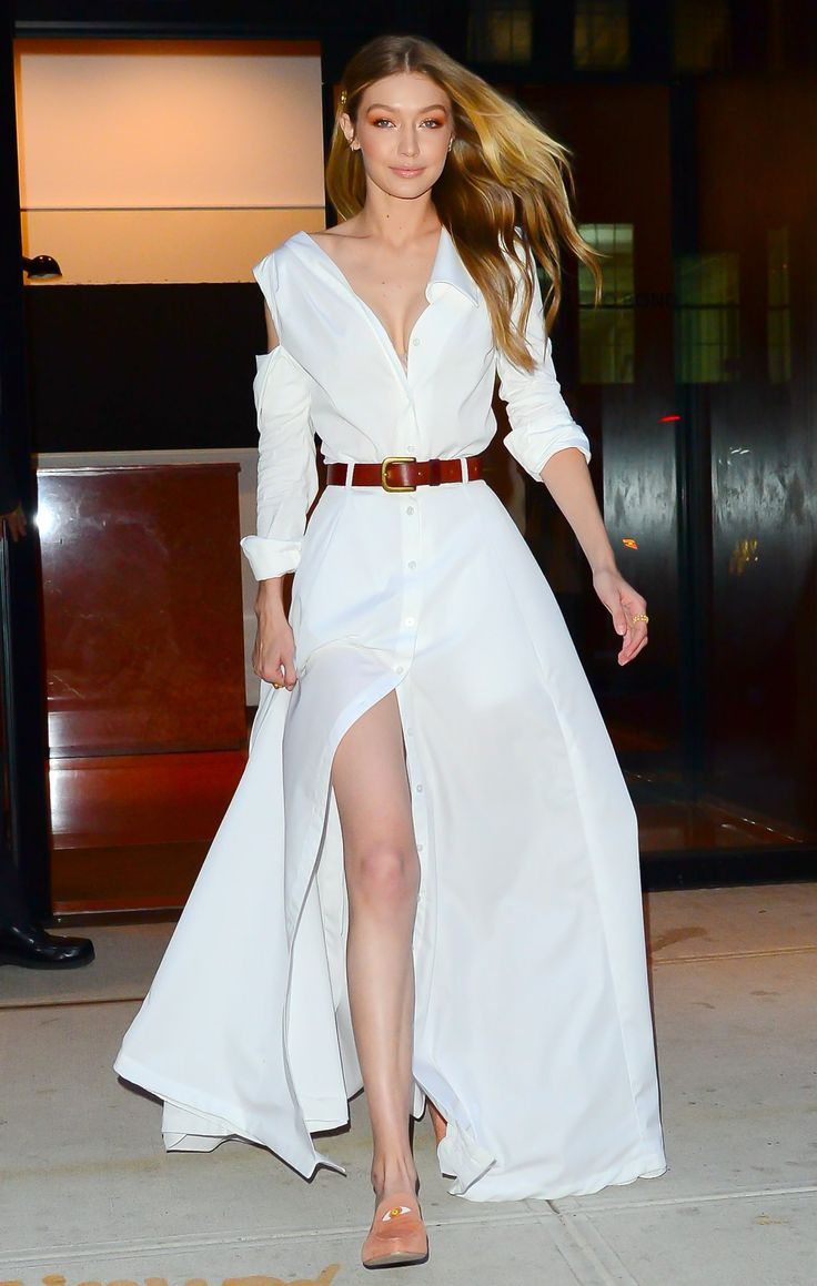 Gigi Hadid Wears 2 All-White Outfits and Stuart Weitzman mules - click through to see her looks!