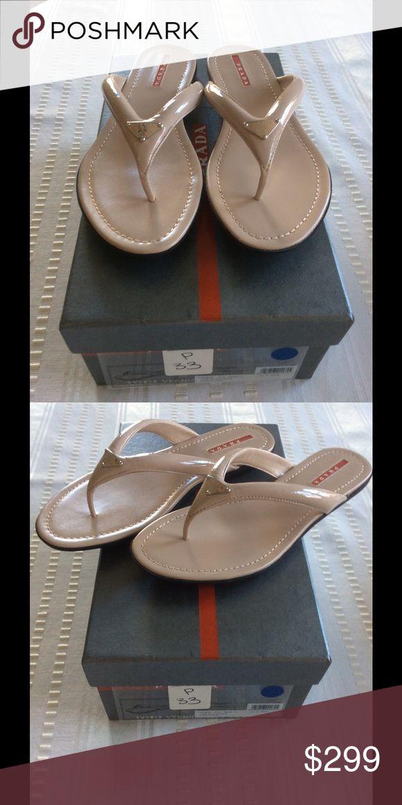 BNIB Prada Flip Flops 39 Beautiful nude patent leather Prada flip-flop. Never worn, immaculate. Prada Shoes Sandals