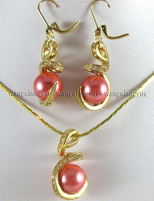 12 мм розовые розы юг морские раковины жемчужные серьги ожерелья комплект 18  > 18 К позолоченные часы оптовая продажа кварцевые камень CZ кристалл