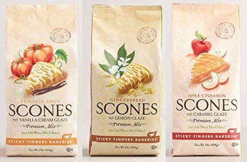 Sticky Fingers Bakeries Premium Glazed Scone Variety Mix Pumpkin Spice Glazed Gingerbread Glazed and Apple Cinnamon Glazed Pack of 3 >>> Check out this great product.(This is an Amazon affiliate link and I receive a commission for the sales)
