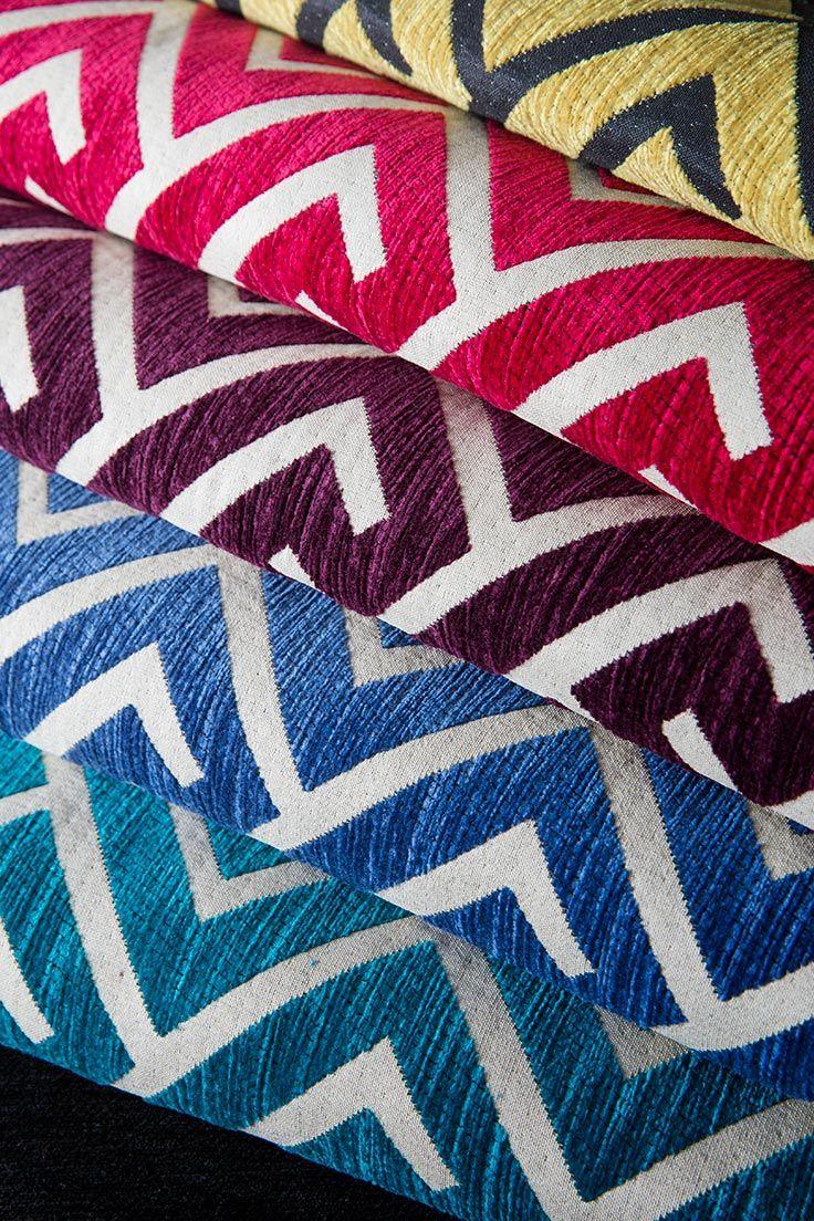 "RICHE Hotel fabrics by HotelHome - ""Apollo"". Greek Key, Geometric Luxury Chenille Fabric Design in assorted colours."