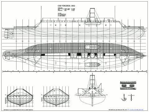 Plans for CSS Wilmington, a very interesting dual casemate ironclad - new blueprint sites css
