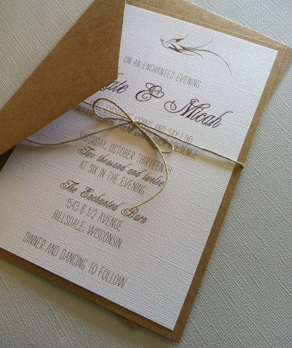 Rustic Romantic Bird Wedding Invitations by LemonInvitations, $2.00