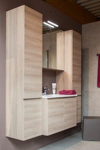 632 (520) - Beau badkamermeubel 80 cm zonder kraan + spiegelkast - compleet set met spiegel - highland oak