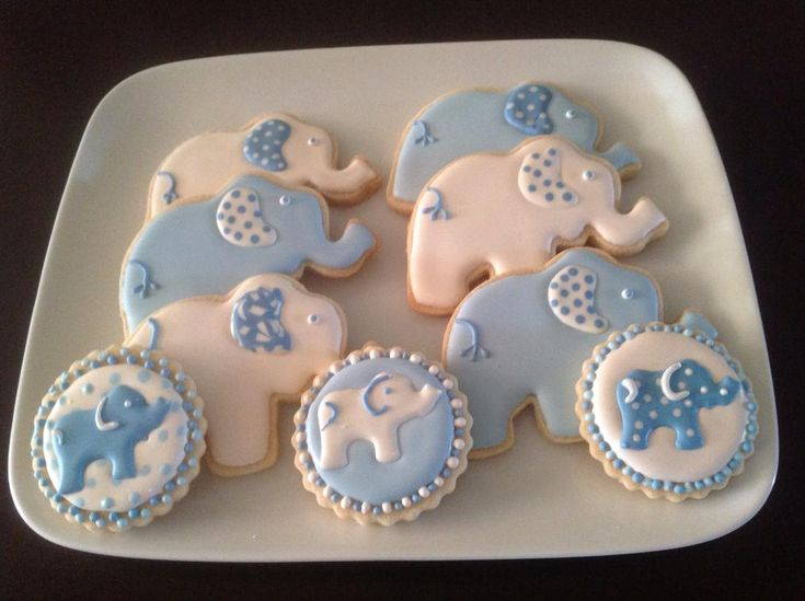 Wee Elephants Decorated Cookies for Baby Shower   Cookie Connection