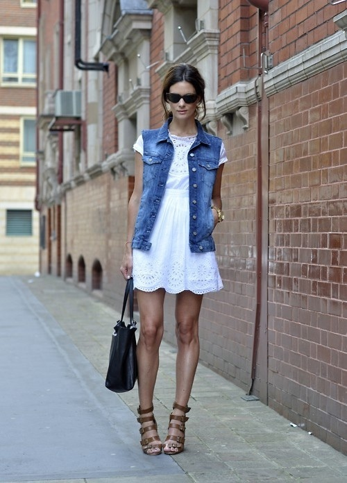 White eyelet dress and jean jacket.