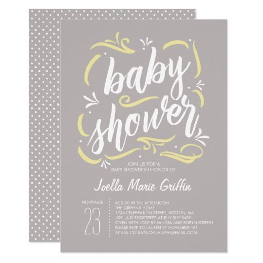 Sweetest Gray And Yellow Baby Shower Invitation In 2018 Baby
