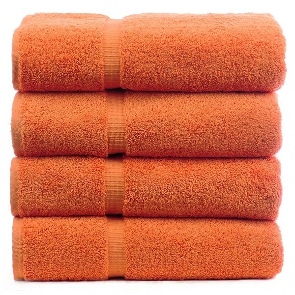 Luxury Hotel Spa Bath Towel Turkish Cotton, Set of 4 (Coral) ($44) ❤ liked on Polyvore featuring home, bed & bath, bath, bath towels, filler, orange, orange bath towels, turkish cotton bath towels and coral bath towels