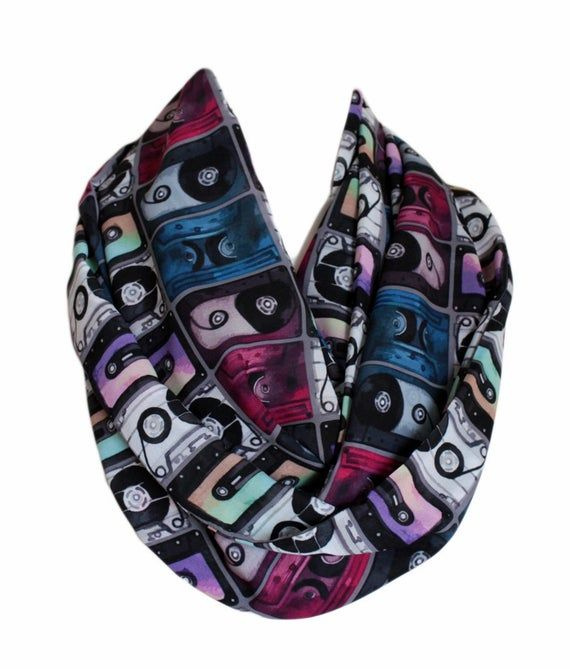 Cassette Tape Infinity Scarf Circle Scarf Spring Fall Winter Session Scarves Gift Idea For Her Wife Girlfriend Mothers Day Cassette Tape Infinity Scarf Circle Scarf Spring Fall Winter Session Scarves Gift Idea For Her Wife