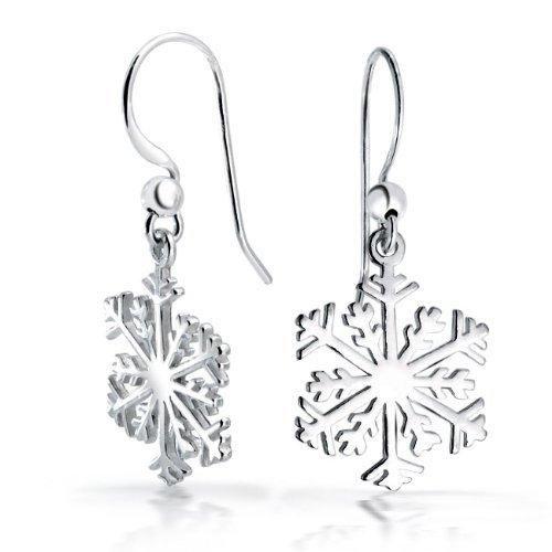 Bling Jewelry Silver Classic Snowflake Dangle Earrings