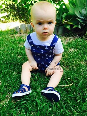 'Hughie' Romper modelled by my little boy :) $39.95 http://www.gumbootsandcurls.com.au/collections/little-boys