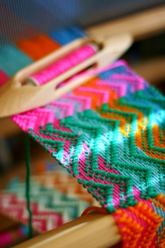 This scarf has a 4 colored warp and the weft changes colors about every 4 inches or so.