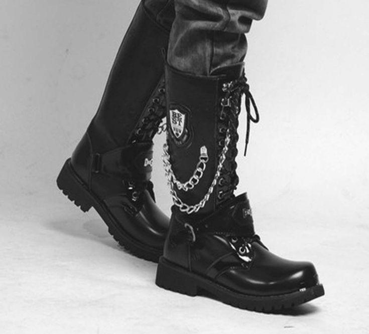 2015 лучших мода улица панк-рок # очень крутой людей высокого лодыжки армейские ботинки мужские ботинки EUO36-42