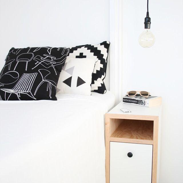 a monochromist: Scandinavian Bedside Table Styling
