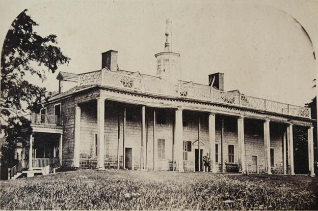 Mount Vernon as it was when bought by the Mount Vernon Ladies Association� Albumen print. Ca. 1860. The neglected Mount Vernon is pictured as it appeared when acquired by the Mount Vernon Ladies Association in 1858, with architectural features added after Washington's death, and since removed.