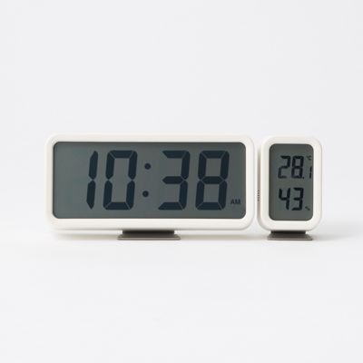Digital temperature and humidity meter multiplied 置兼 for White | Muji net store