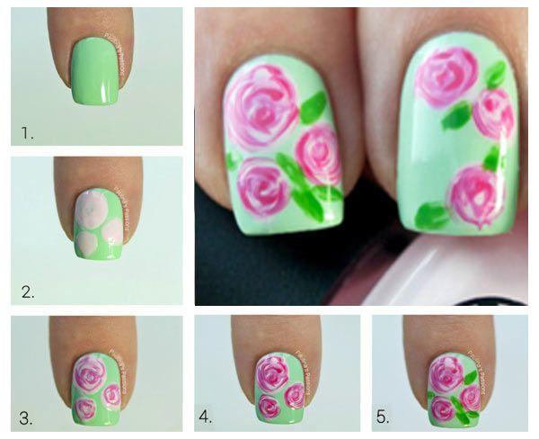 Cómo hacer rosas pintadas en las uñas, cómo hacer rosas en las uñas.   #diseñouñas #nailsdesign #uñasfinas