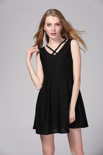 I'm auctioning 'Women's Sexy V-Neck Black Dress' on #tophatter