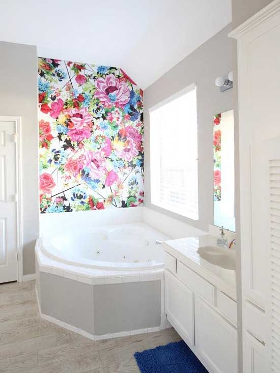 Large floral wallpaper on one wall enlivens a powder room on the wall pinterest anthropologie powder room and turquoise