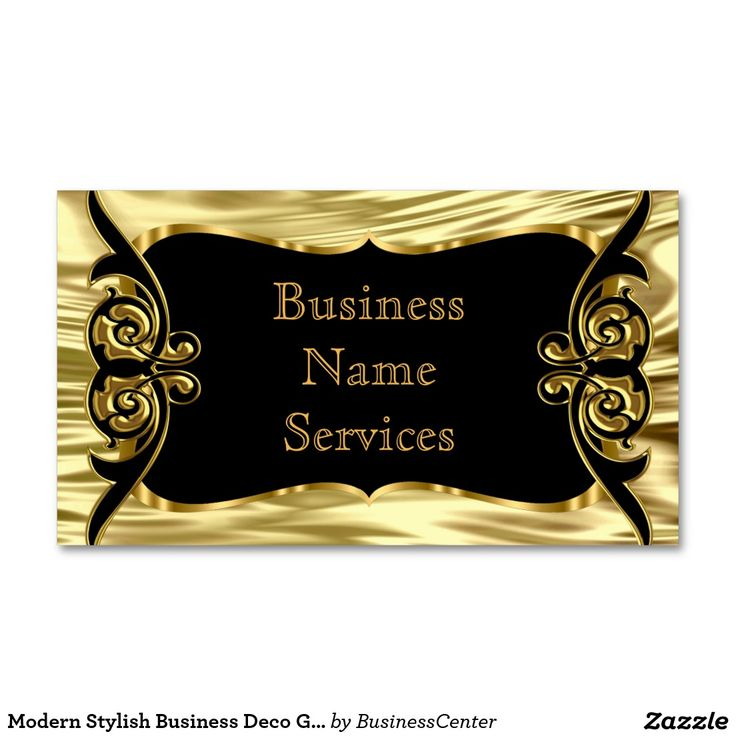 Modern Stylish Business Deco Gold Black Business Card
