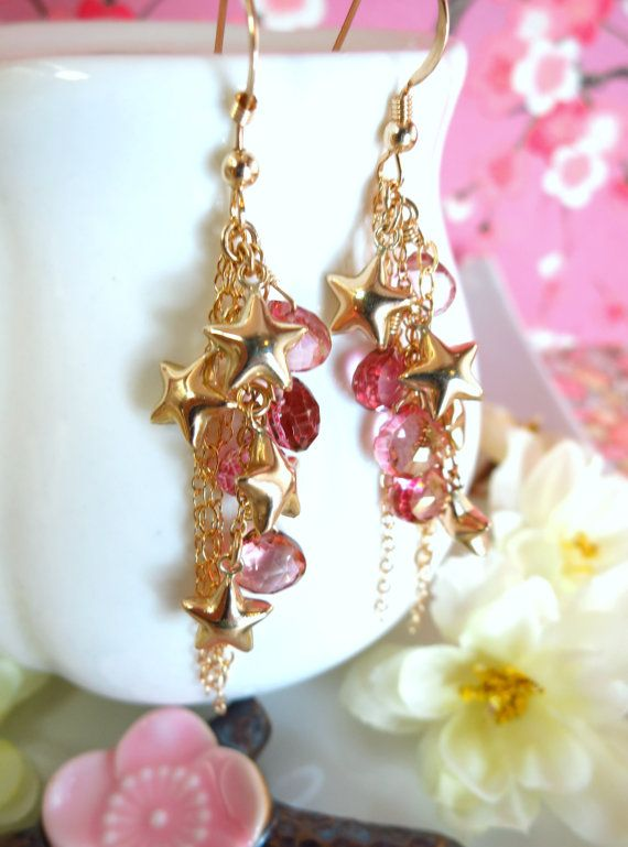 Gold star cluster pink mystic quartz cluster tassle earrings, wonder woman star cluster earrings, July 4th star red crystal earrings