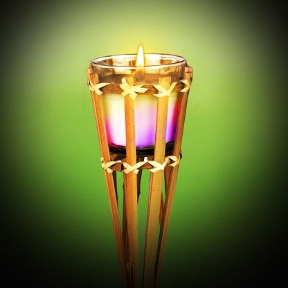 Bamboo Garden Torches with Colour Change Citronella Candle