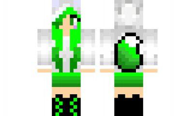 Minecraft Skin Green-wolf-girl