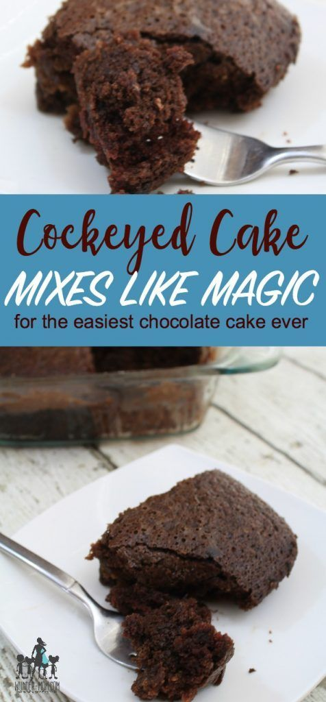 cockeyed cake, easy chocolate cake recipe - mixes like magic in the pan, no mixing bowl needed!  if you love chocolate you must try this easy recipe for chocolate cake #baking #chocolatecake  #easyrecipe