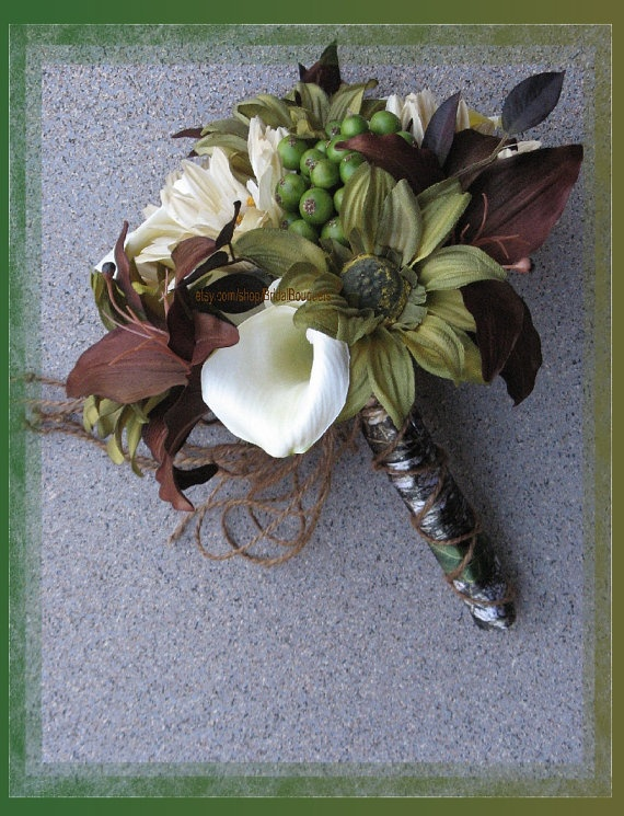 Mossy Oak Break Up Wedding Bouquet Set by BridalBouquets on Etsy, $253.00