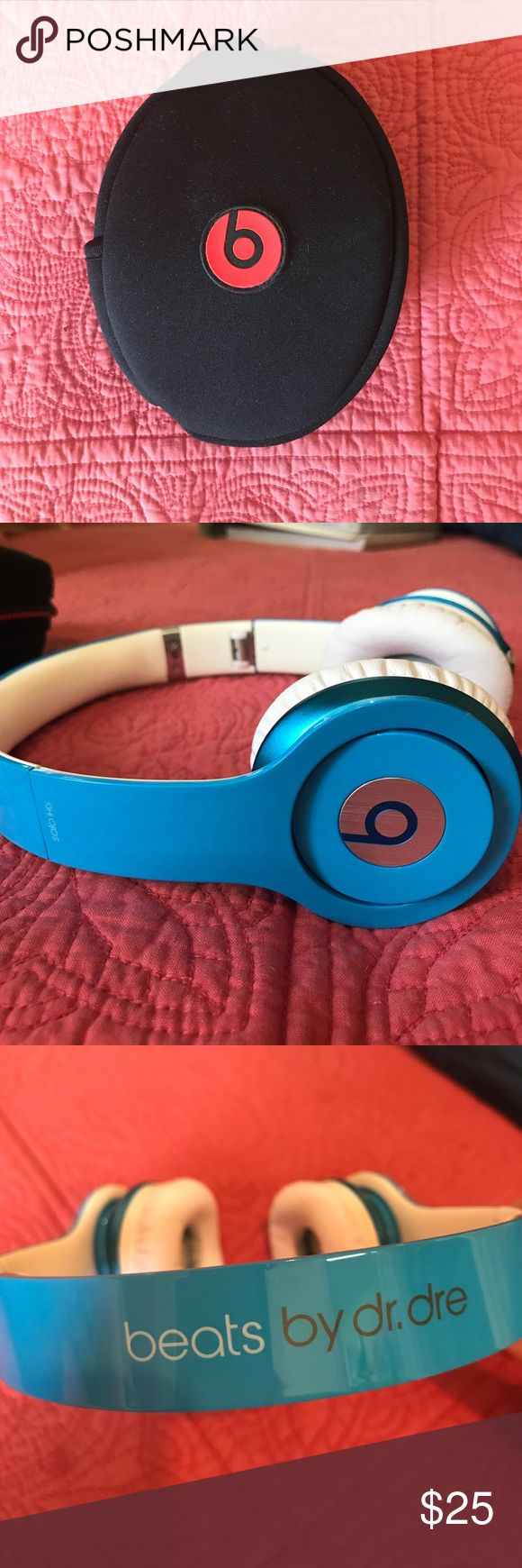 Beats by Dr. Dre These blue headphones are a great way to listen to music, movies, or tv shows. They are extremely comfortable and have smaller frames which are great for someone who doesn't want huge headphones. Selling without the cord that plugs into a phone. Beats by Dr. Dre Accessories