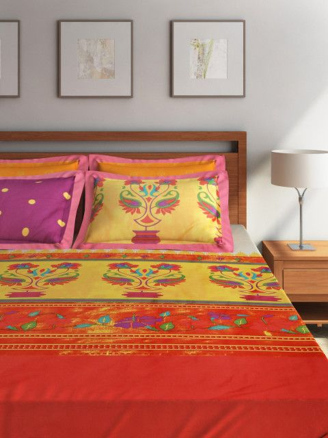 Buy Portico New York Multicoloured 400 TC Cotton Superfine Double Bedsheet With 4 Pillow Covers - Bedsheets for Unisex | Myntra