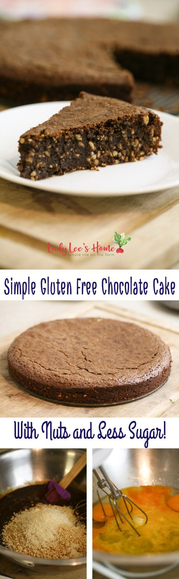 Here is a recipe for a simple gluten-free chocolate cake. With lots of nuts and less sugar. It is moist and delicious. Will go very well with berries, ice cream, and whipped cream.   #LadyLeesHome #chocolate #cake #dessert #chocolatecake #glutenfree #glutenfreedeserts