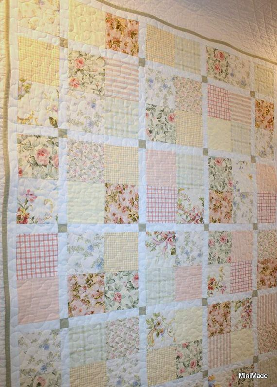Modern Vintage Baby or Lap Quilt Pastel Vintage Sheets - this one reminds me of the quilt my grandmother made for me when I was a child.