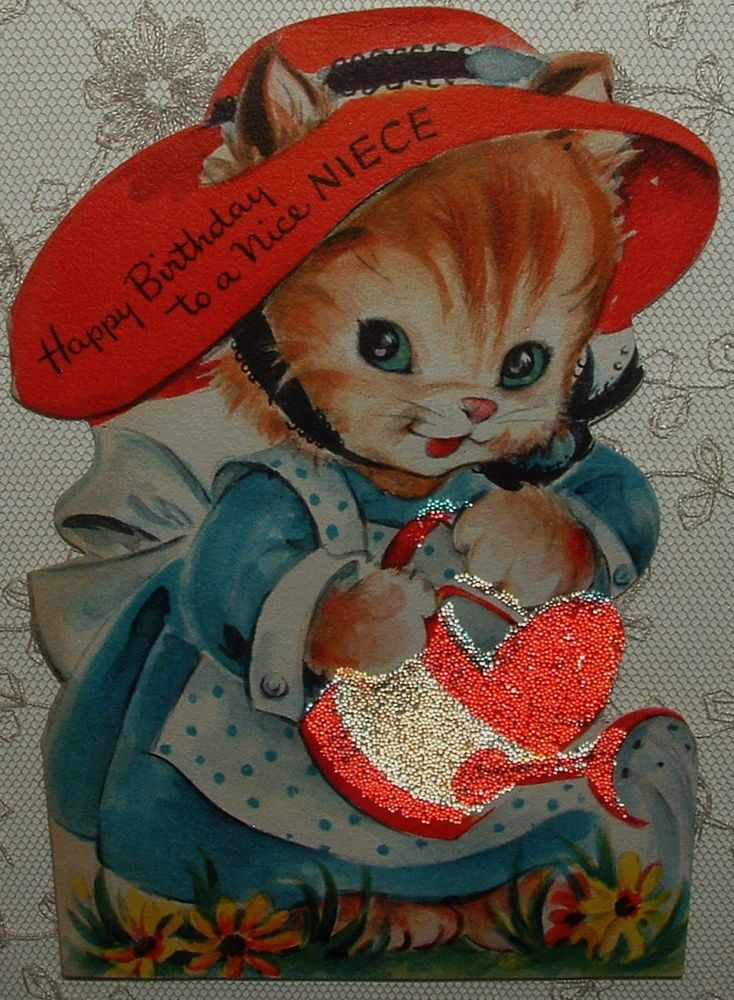 Glittered - Dressed Kitty w/ Watering Can - 1948 Vintage HALLMARK Greeting Card