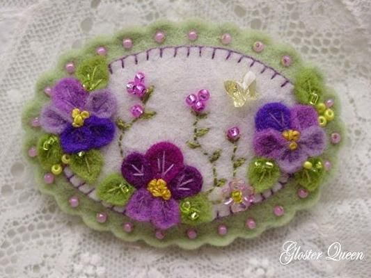 Pansy pin with purple pansies and