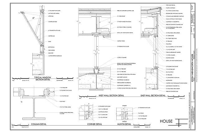 Details of Walls, Window and Columns - Edith Farnsworth House, 14520 River Road, Plano, Kendall County, IL
