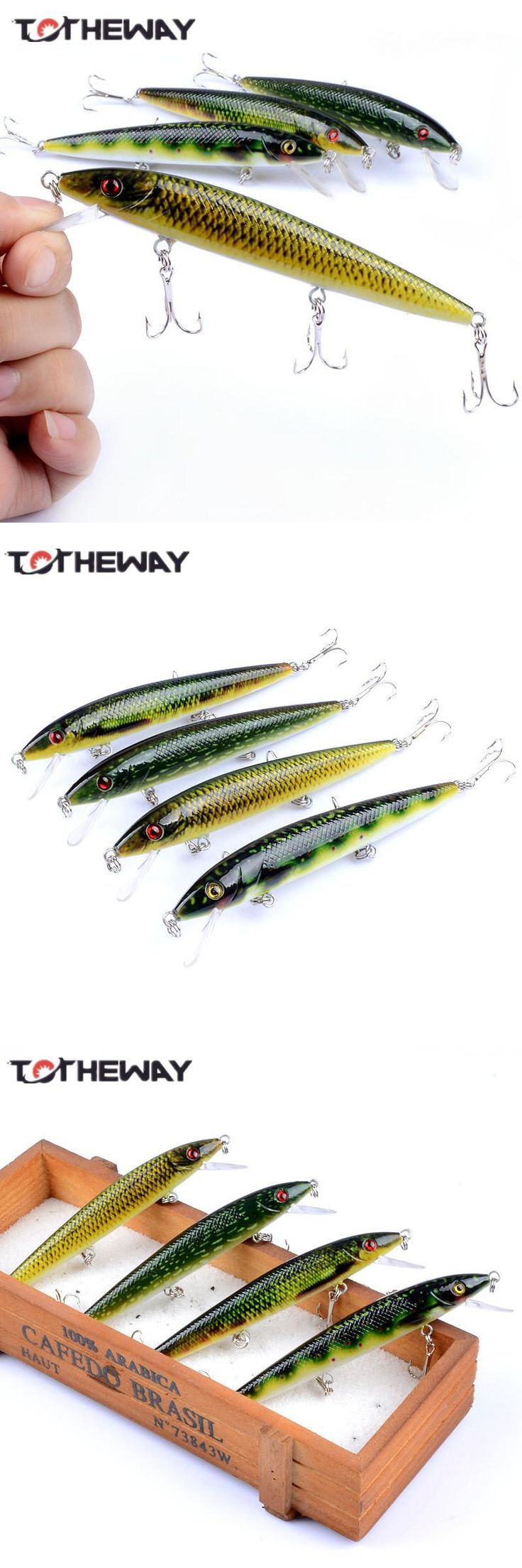 [Visit to Buy] 1PCS Lifelike 13.7g/12cm Minow Wobblers Hard Fishing Tackle Swim bait Crank Bait Bass Fishing Lures 4 Colors fishing tackle #Advertisement