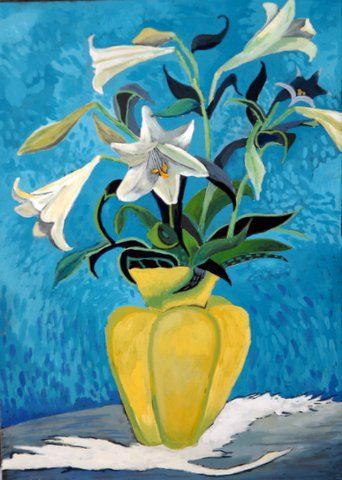 Lilies in a yellow vase