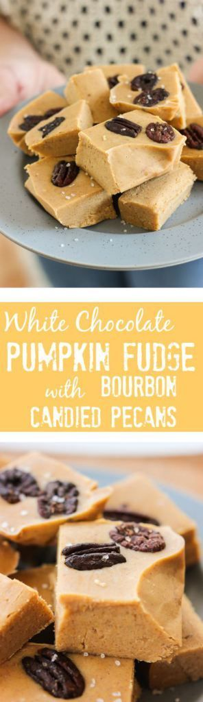 Gluten-Free No-Bake White Chocolate Pumpkin Fudge with Bourbon-Glazed Pecans is so easy and will be the hit at any fall get together! www.ahotsouthernmess.com