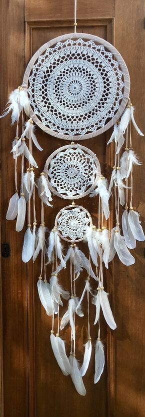3 tier crochet dreamcatcher with white feathers handmade in Indonesia.