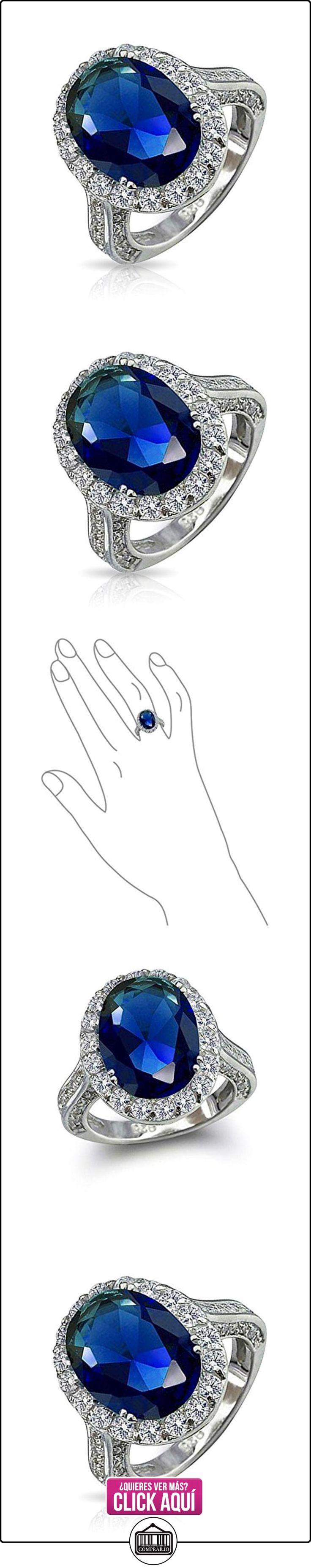 Bling Jewelry Plata Esterlina de Época CZ Oval Color Zafiro Real Anillo de Compromiso  ✿ Joyas para mujer - Las mejores ofertas ✿ ▬► Ver oferta: http://comprar.io/goto/B004T4BQI8