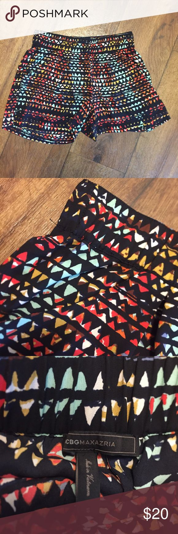 Blue and Red Tribal Shorts Cute Tribal shorts from the BCBGmaxazria collection. A really fun way to spice up an outfit. Made up of a really silky, breathable material. BCBGMaxAzria Shorts