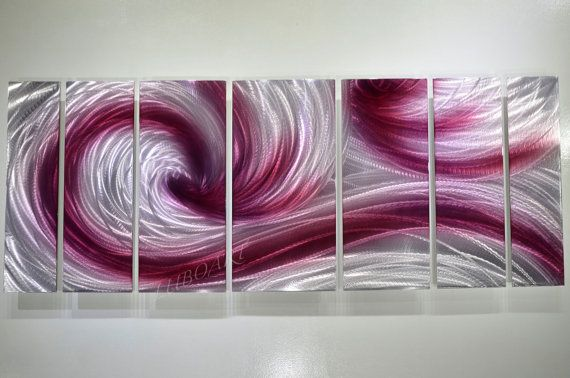 Abstract Metal Art Burgundy Ocean Dance Painting Hand Made