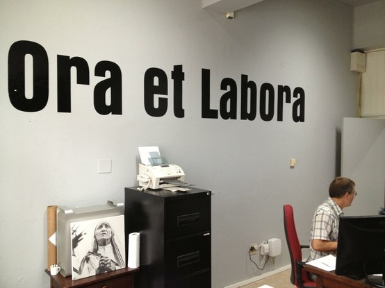 New sign up in Mariannhil Mission Press office! Ora et Labora - Work and Pray!