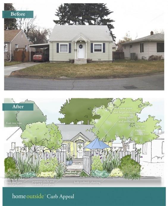Curb Appeal landscape design sketch before & after