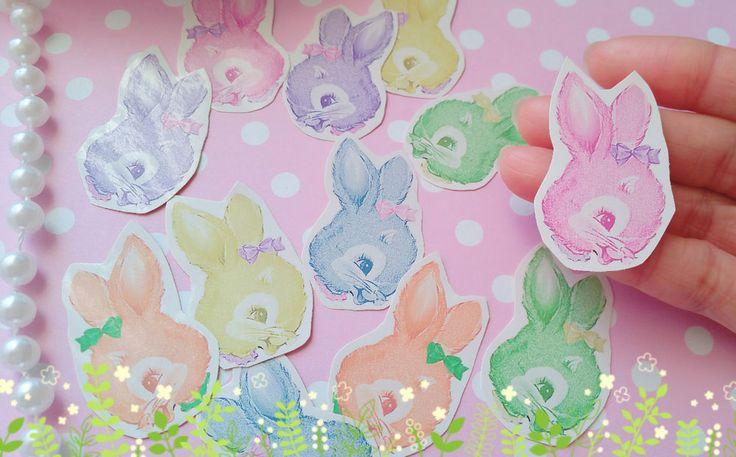 48xRabbit Head Stickers,Vintage Bunnies,Easter Rabbit Stickers,Kawaii sticker