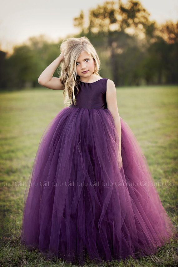 Purple Flower Girl Dress Plum Tutu Dress Eggplant Tulle Dress  9d10030bb557