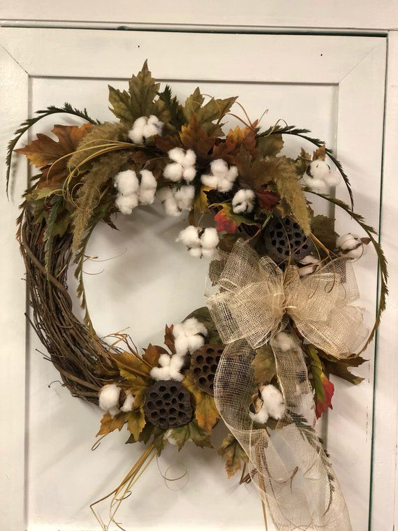 Country Farmhouse Rustic Grapevine Wreath Designed On An 18 Inch Grapevine Base Silk Cotton S With Images Fall Door Decorations Country Farmhouse Decor Door Wreaths Fall