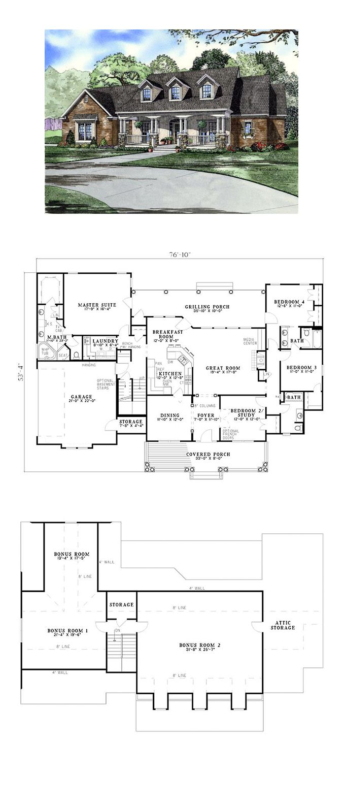 Country Southern House Plan 61377 668 best