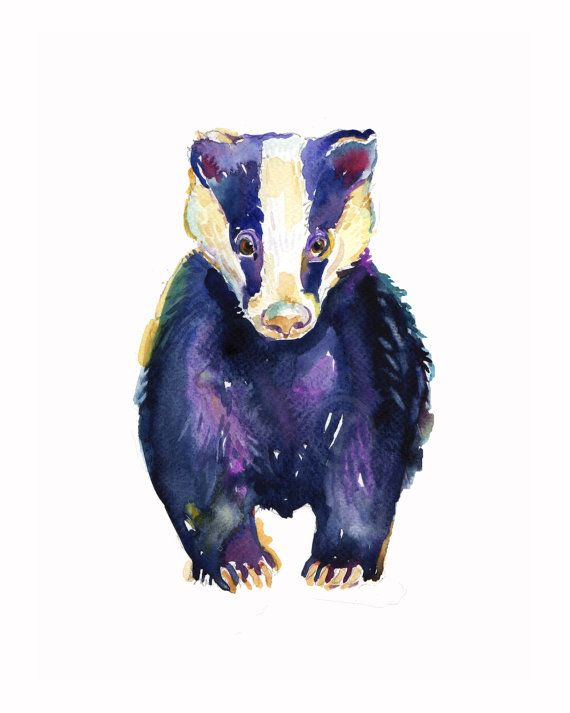 Badger size 8x10in Watercolor Painting by Coconuttowers